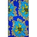 Pagne - Wax - Fleurs - Jaune / Bleu / Blanc