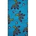 Coupon de tissu - Wax - Graphiques - Turquoise / Jaune / Noir