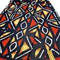 Coupon de tissu - Wax - Bogolan - Marielle - Rouge / Ocre / Noir
