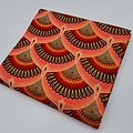 Coupon de tissu - Wax - Graphiques - Pailleté - Rose / Rouge / Marron