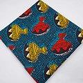 Coupon de tissu - Wax - Hochets - Bleu / Jaune / Rouge