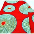 Coupon de tissu - Wax - Disques - Jaune / Rouge / Bleu