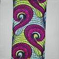 Coupon de tissu - Wax - Graphiques - Rose / Jaune / Bleu
