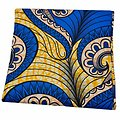 Coupon de tissu - Wax - Graphiques - Bleu / Jaune / Brun