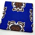 Coupon de tissu - Wax - Graphiques - Bleu / Orange / Blanc