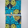 Coupon de tissu - Wax - Graphiques - Bleu / Jaune / Orange
