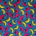 Coupon de tissu - Wax - Fleur de Mariage - Jaune / Rose / Bleu