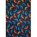 Pagne - Wax - Fleur de Mariage - Bleu / Orange / Blanc