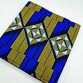 Coupon de tissu - Wax - Graphiques - Bleu / Or / Blanc