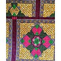 Coupon de tissu - Wax - Graphiques - Rose / Vert / Jaune