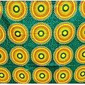 Coupon de tissu - Wax - Ronds - Vert / Jaune / Orange