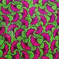 Coupon de tissu - Wax - Fleur de Mariage - Vert / Rose / Noir