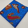 Coupon de tissu - Wax - Hirondelles - Bleu / Rouge / Jaune