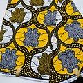 Coupon de tissu - Wax - Graphiques - Gris / Jaune / Noir