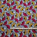 Coupon de tissu - Wax - Fleur de Mariage - Rouge / Jaune / Noir
