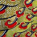 Coupon de tissu - Wax - Graphiques - Rouge / Jaune / Noir