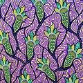 Coupon de tissu - Wax - Graphiques - Violet / Noir / Doré