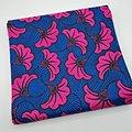 Coupon de tissu - Wax - Petite fleur de mariage - Rose / Bleu / Noir