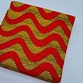 Coupon de tissu - Wax - Vagues - Rouge / Orange / Noir