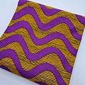 Coupon de tissu - Wax - Vagues - Violet / Orange / Noir