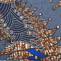 Coupon de tissu - Wax - Sapins - Bleu / Marron / Blanc