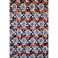Coupon de tissu - Wax - Graphiques - Blanc / Noir / Orange