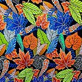 Coupon de tissu - Wax - Feuilles - Orange / Vert / Bleu