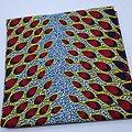 Coupon de tissu - Wax - Plumes de paon - Noir / Rouge / Jaune