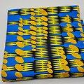 Coupon de tissu - Wax - Graphiques - Jaune / Bleu / Noir