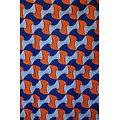 Coupon de tissu - Wax - Graphiques - Orange / Bleu / Blanc
