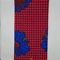 Coupon de tissu - Wax - Fleurs - Rose / Bleu / Noir