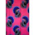 Coupon de tissu - Wax - Fleurs - Rose / Bleu / Rouge
