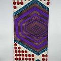 Coupon de tissu - Wax - Graphiques - Violet / Marron / Rouge