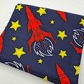 Coupon de tissu - Wax - Fusées - Rouge / Jaune / Bleu