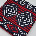 Coupon de tissu - Wax - Kente - Rouge / Blanc / Noir
