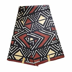 Pagne - Wax 100% coton - Bogolan - Ocre / Marron / Noir - Galaxy Fashion