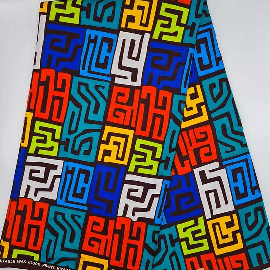 Pagne - Wax - Graphiques - Orange / Bleu / Jaune