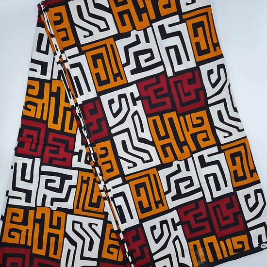Pagne - Wax - Graphiques - Bordeaux / Orange / Blanc