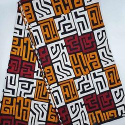 Coupon de tissu - Wax - Graphiques - Bordeaux / Orange / Blanc