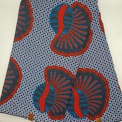 Coupon de tissu - Wax - Graphiques - Bleu / Rouge / Noir