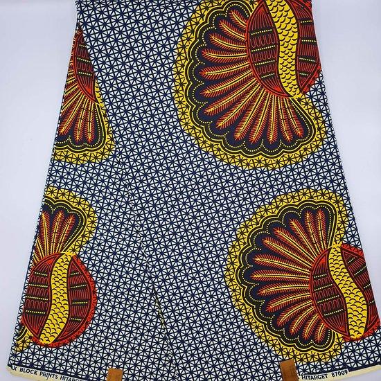 Coupon de tissu - Wax - Graphiques - Orange / Jaune / Bleu