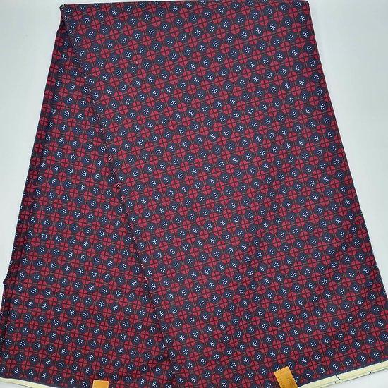 Coupon de tissu - Wax - Graphiques - Rouge / Noir / Bleu