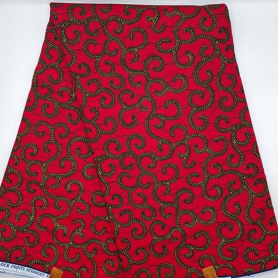 Coupon de tissu - Wax - Graphiques - Rouge / Noir / Jaune
