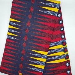 Coupon de tissu - Wax - Graphiques - Rouge / Bleu / Jaune