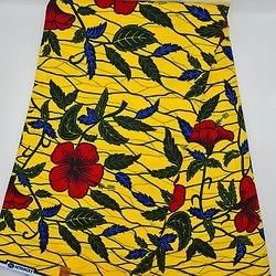 Coupon de tissu - Wax - Fleurs - Jaune / Vert / Rouge