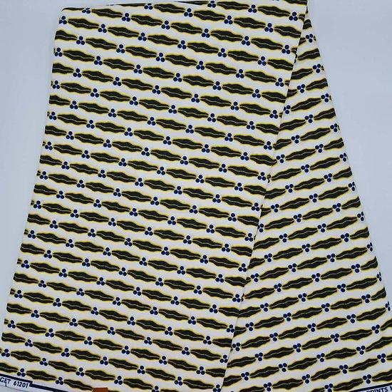 Coupon de tissu - Wax - Mari capable - Blanc / Noir / Jaune