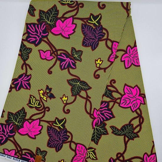 Pagne - Wax - Fleurs - Vert / Rose / Noir