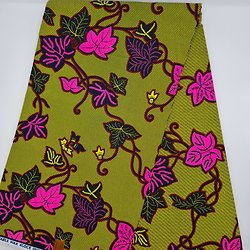 Coupon de tissu - Wax - Fleurs - Vert / Rose / Noir