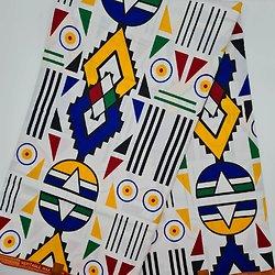 Pagne - Wax - Graphiques - Blanc / Jaune / Rouge