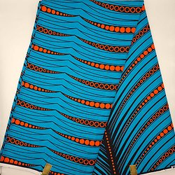Pagne - Wax - Ronds - Bleu / Orange / Noir